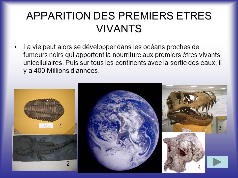 APPARITION DES PREMIERS ETRES VIVANTS