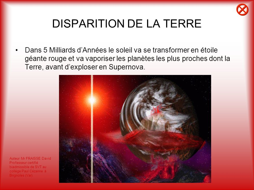 DISPARITION DE LA TERRE