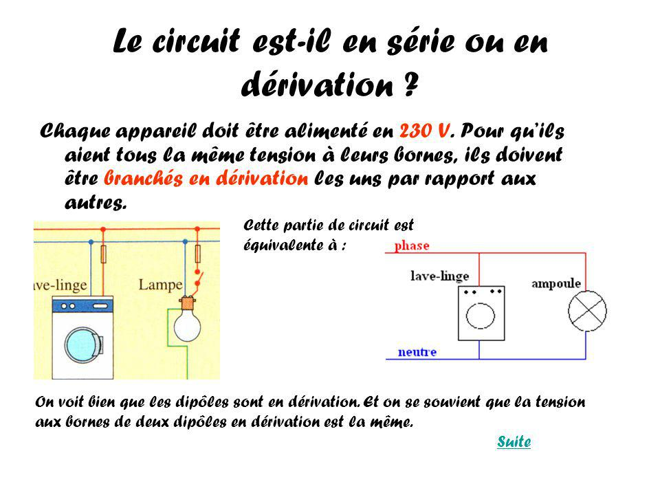Le circuit est-il en série ou en dérivation