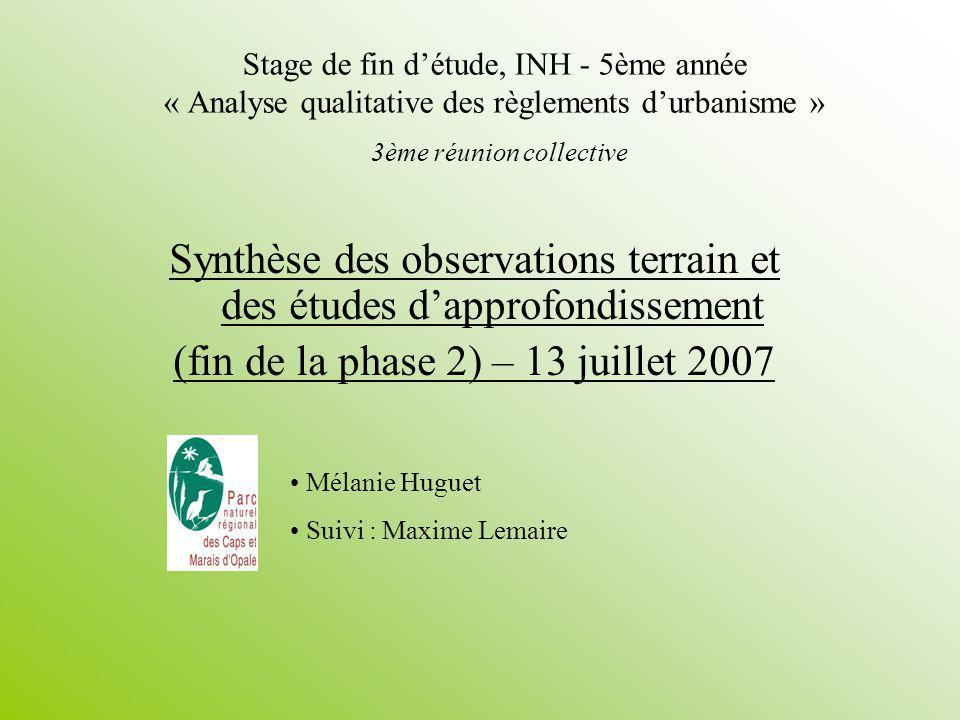 Synthèse des observations terrain et des études d'approfondissement