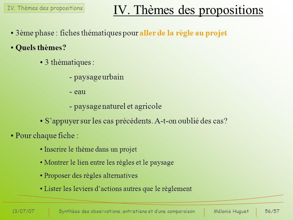 IV. Thèmes des propositions