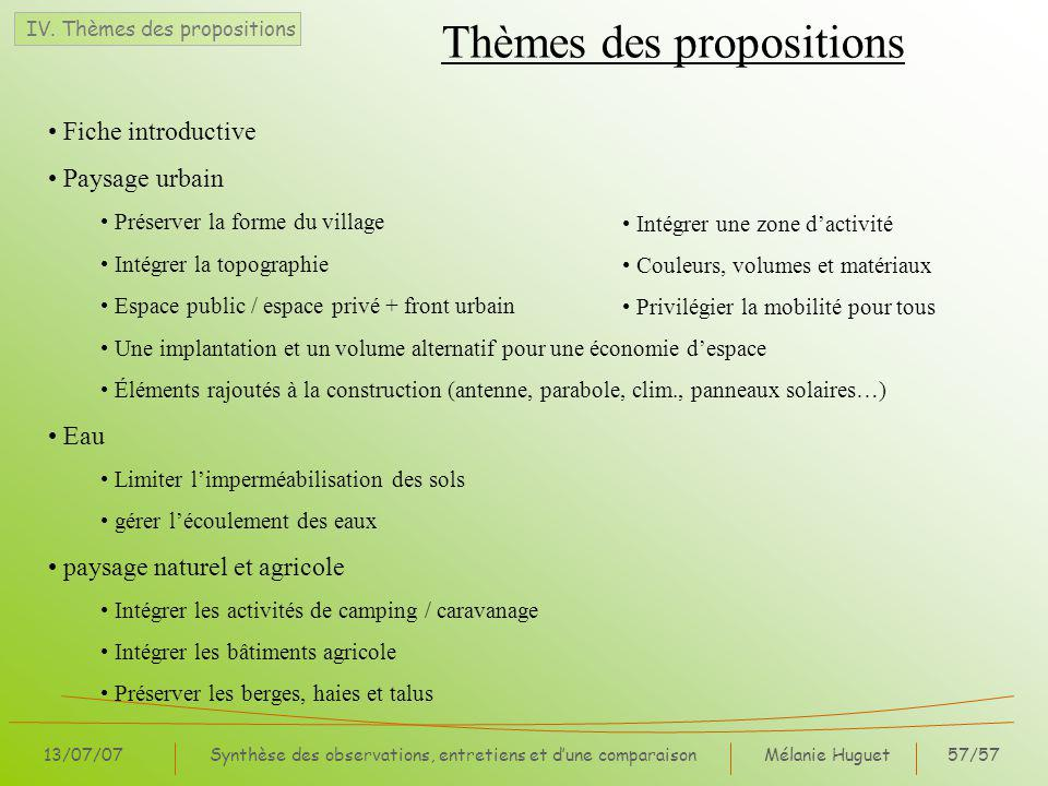 Thèmes des propositions