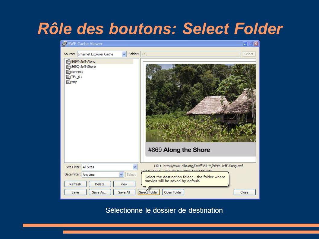 Rôle des boutons: Select Folder