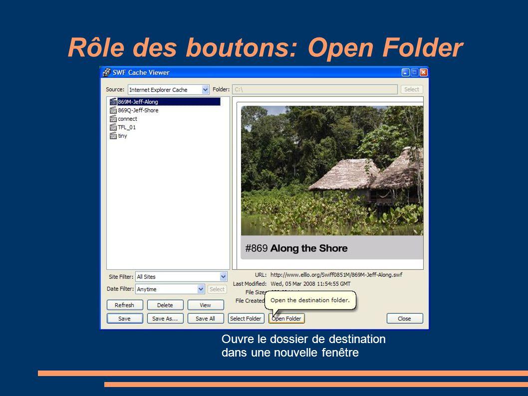 Rôle des boutons: Open Folder