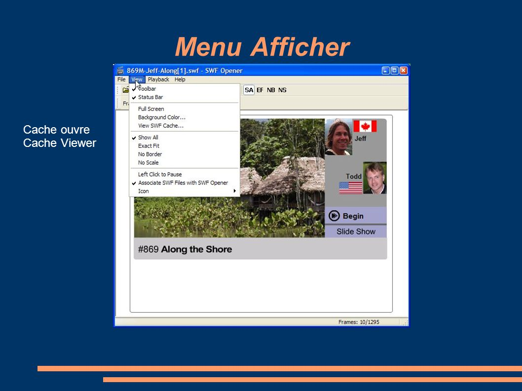 Menu Afficher Cache ouvre Cache Viewer