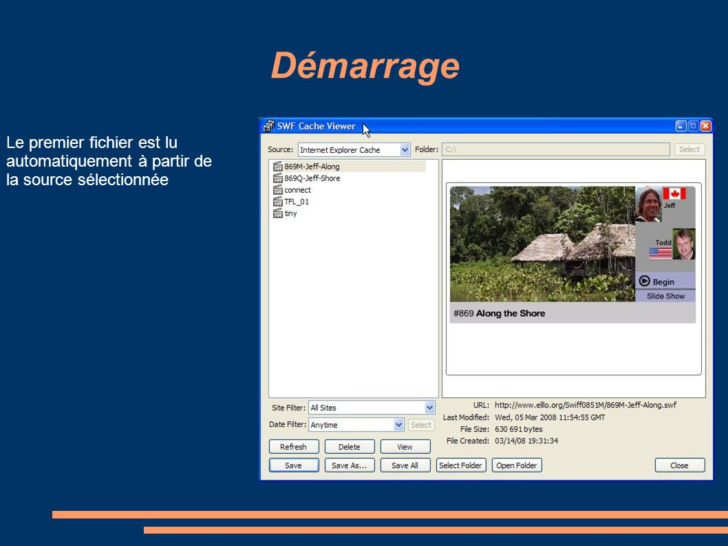 Démarrage Le premier fichier est lu automatiquement à partir de la source sélectionnée