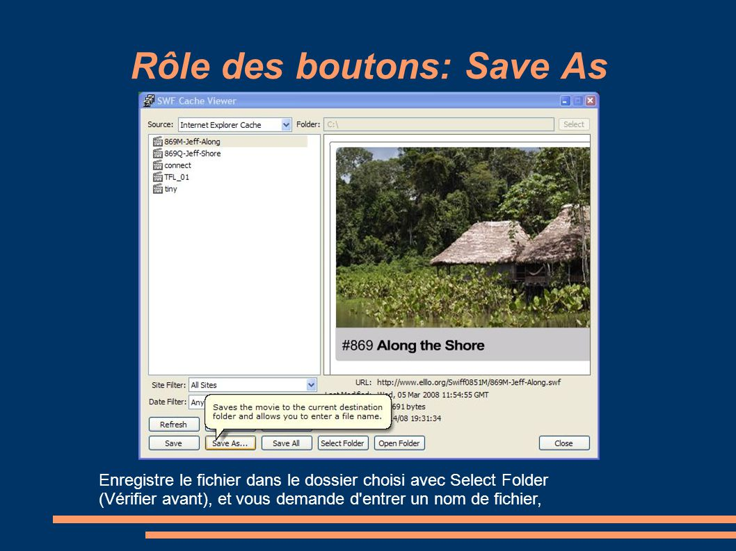 Rôle des boutons: Save As