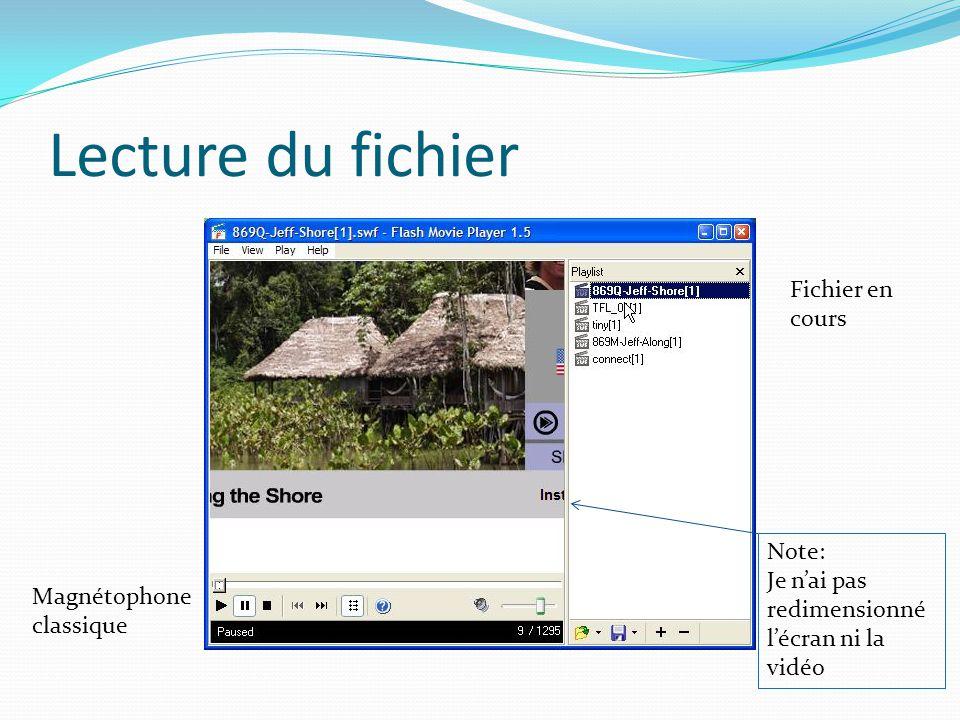 Lecture du fichier Fichier en cours Note: