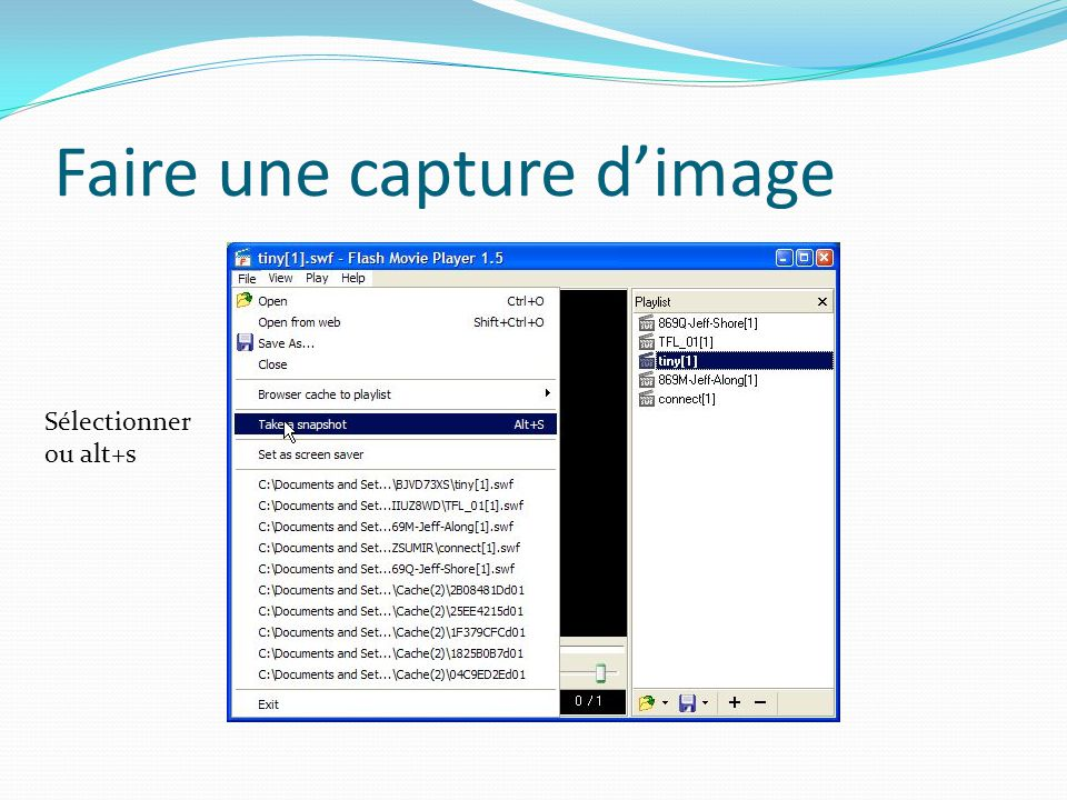 Faire une capture d'image