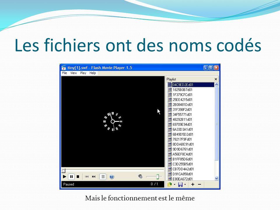 Les fichiers ont des noms codés