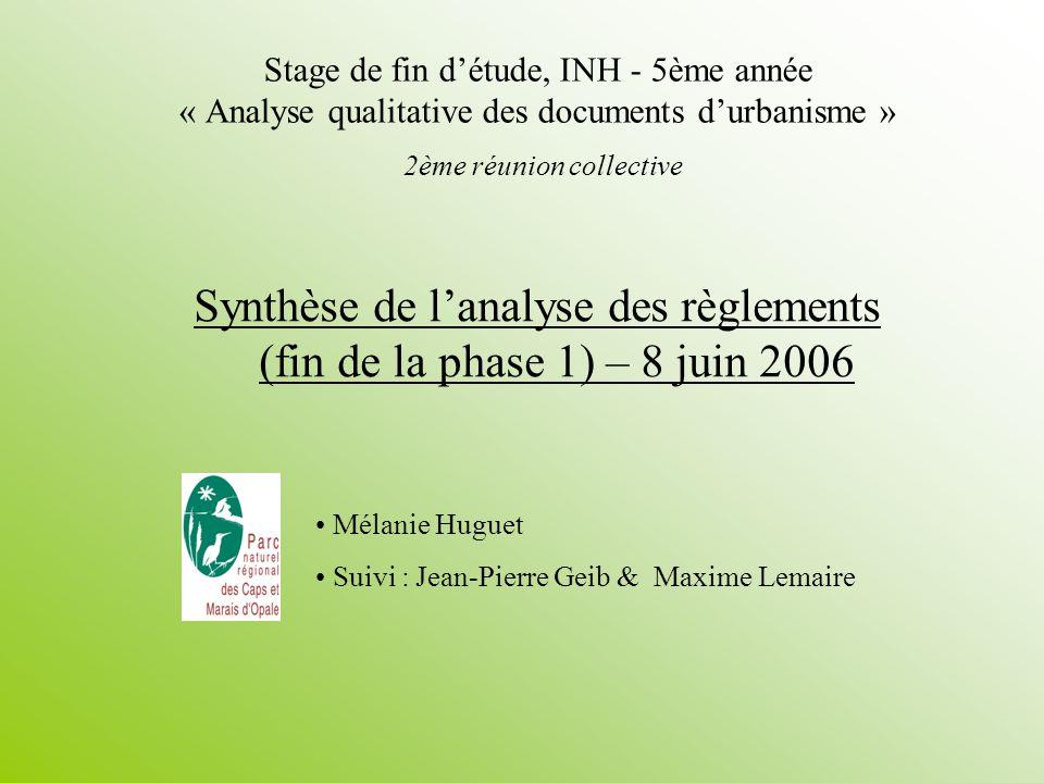 Synthèse de l'analyse des règlements (fin de la phase 1) – 8 juin 2006