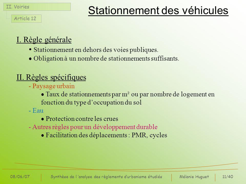 Stationnement des véhicules