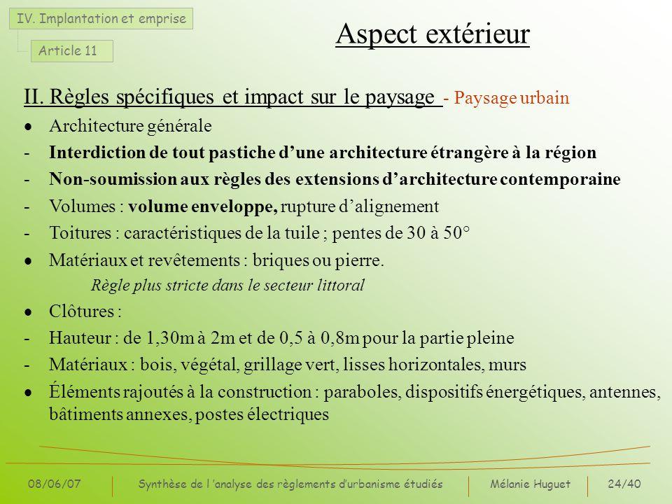 Synthèse de l 'analyse des règlements d'urbanisme étudiés