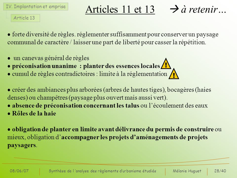 Articles 11 et 13  à retenir…