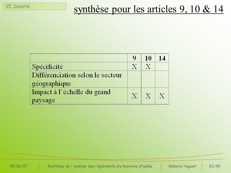 synthèse pour les articles 9, 10 & 14
