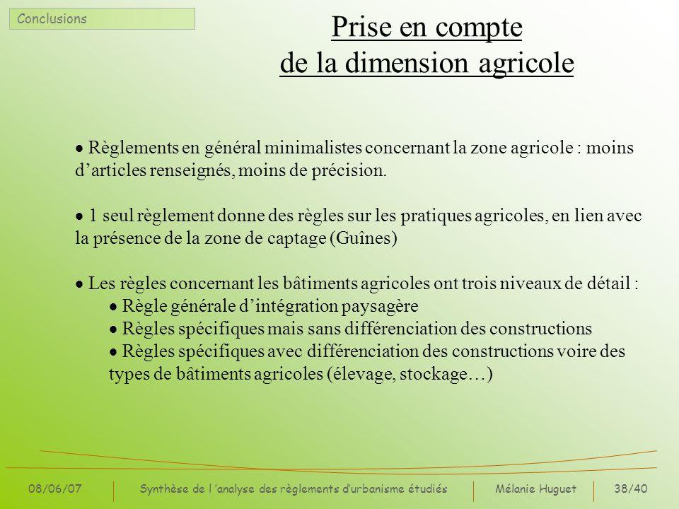 Prise en compte de la dimension agricole