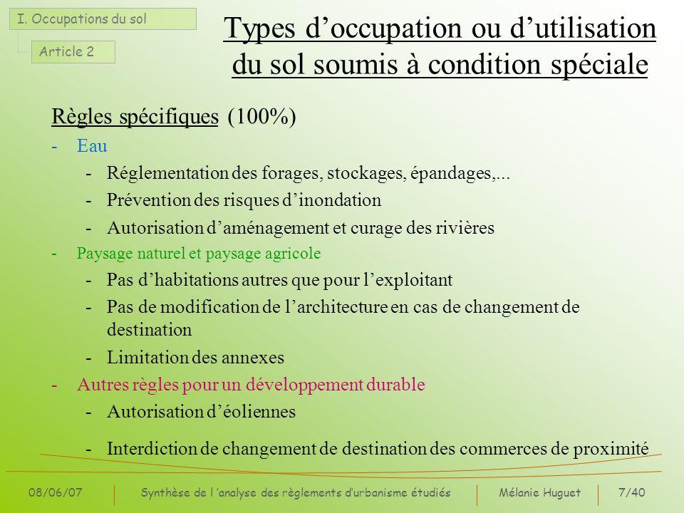 Types d'occupation ou d'utilisation du sol soumis à condition spéciale
