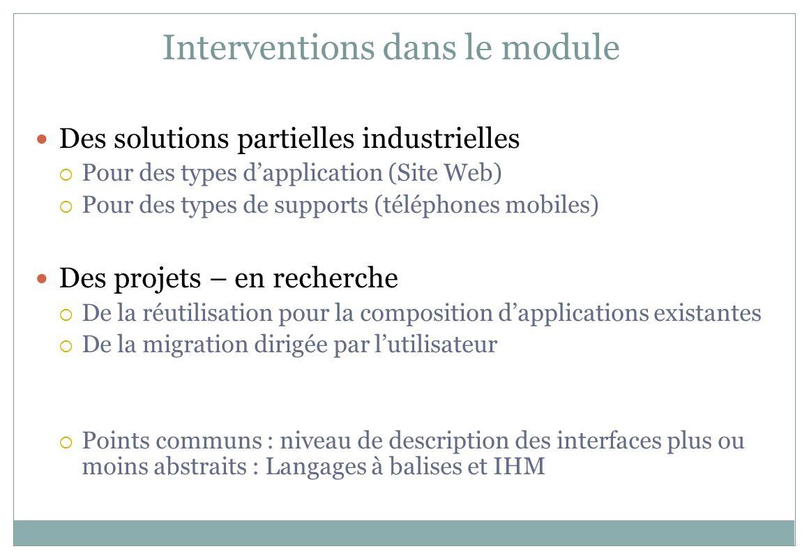 Interventions dans le module
