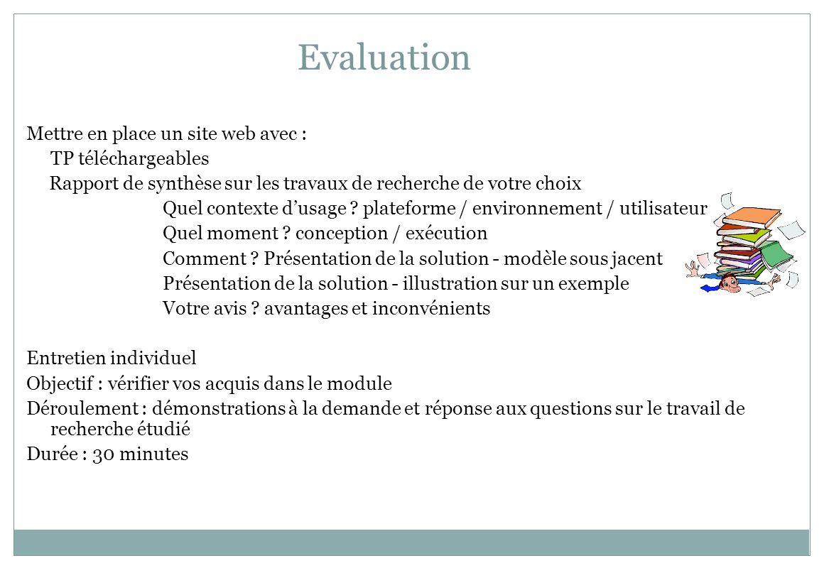 Evaluation Mettre en place un site web avec : TP téléchargeables