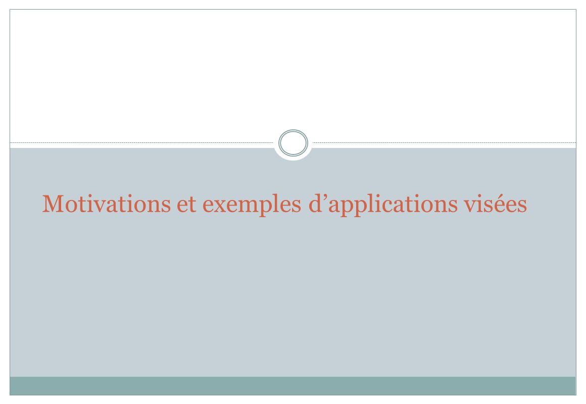 Motivations et exemples d'applications visées