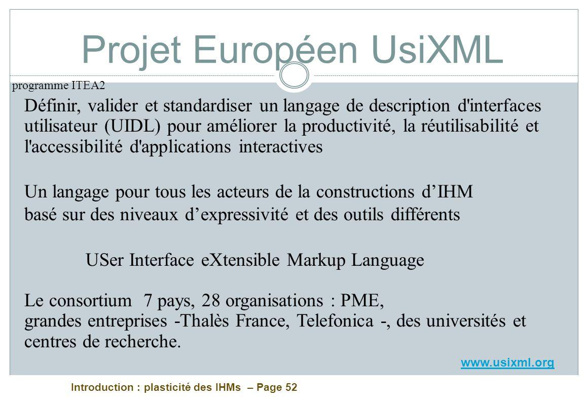 Projet Européen UsiXML