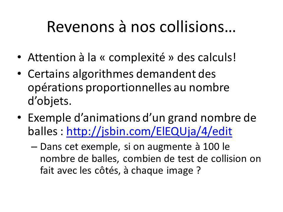Revenons à nos collisions…