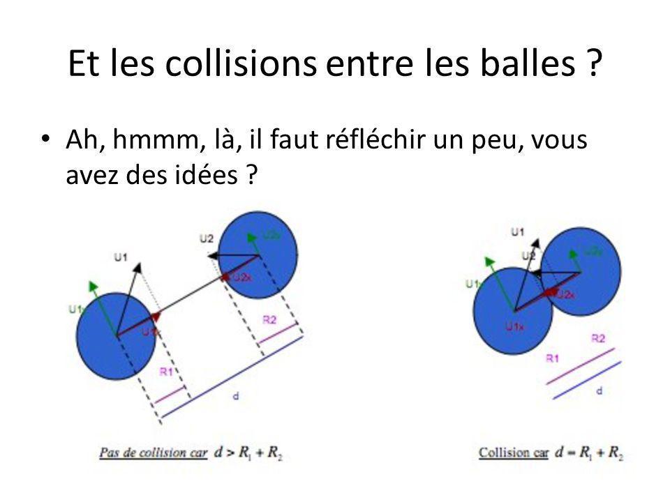 Et les collisions entre les balles