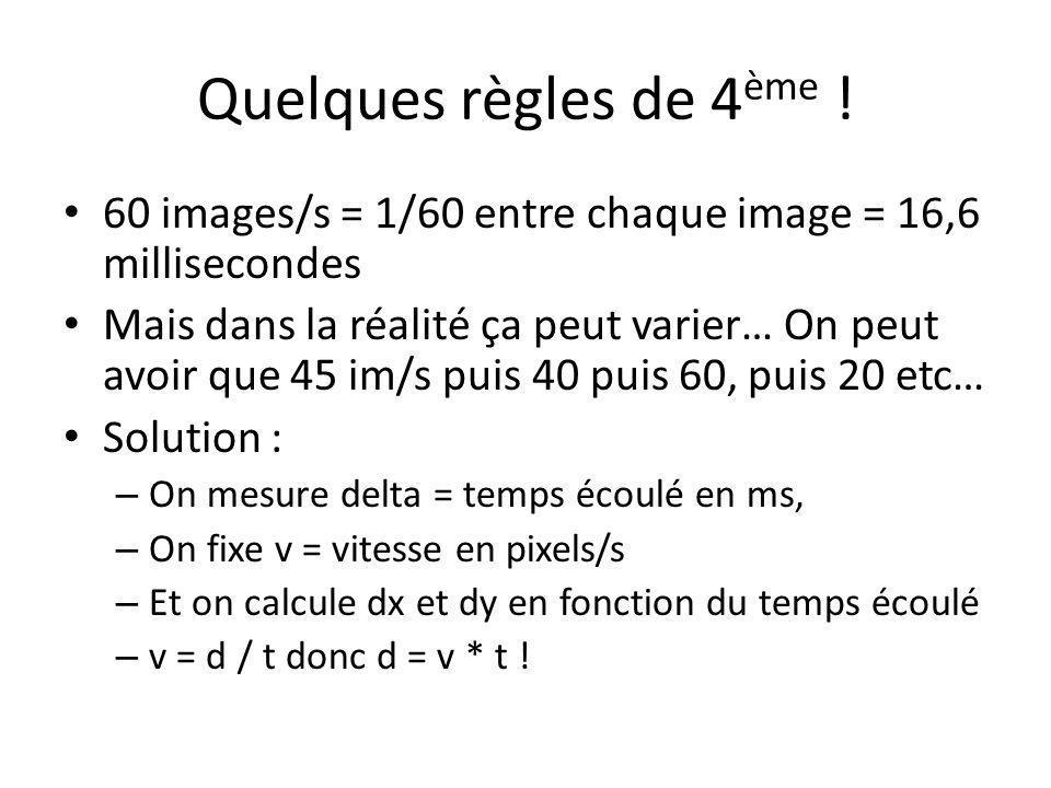 Quelques règles de 4ème ! 60 images/s = 1/60 entre chaque image = 16,6 millisecondes.