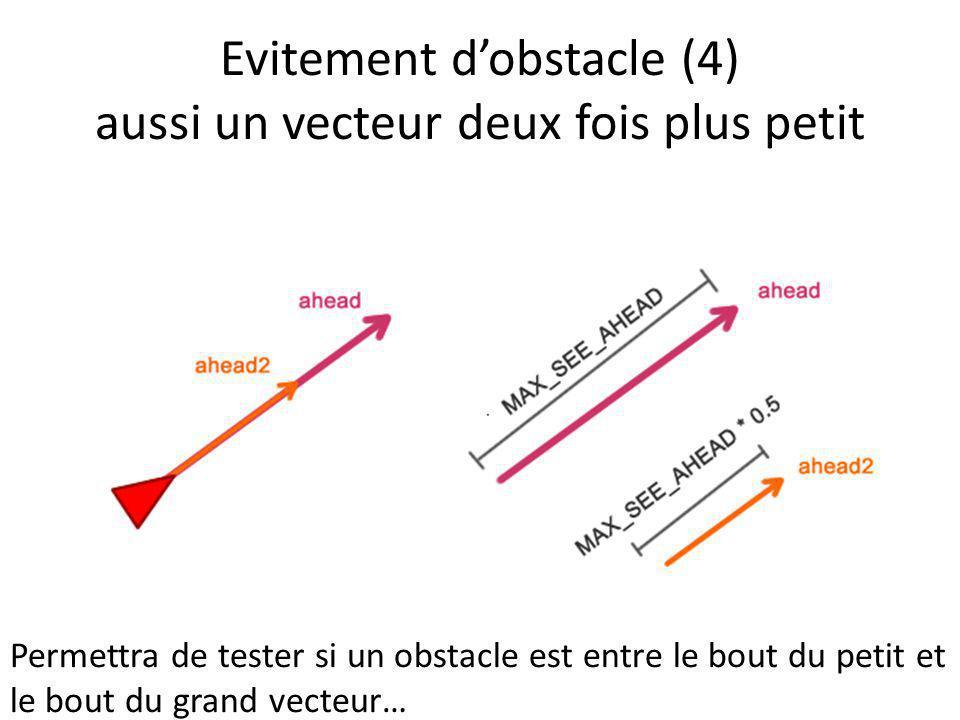 Evitement d'obstacle (4) aussi un vecteur deux fois plus petit