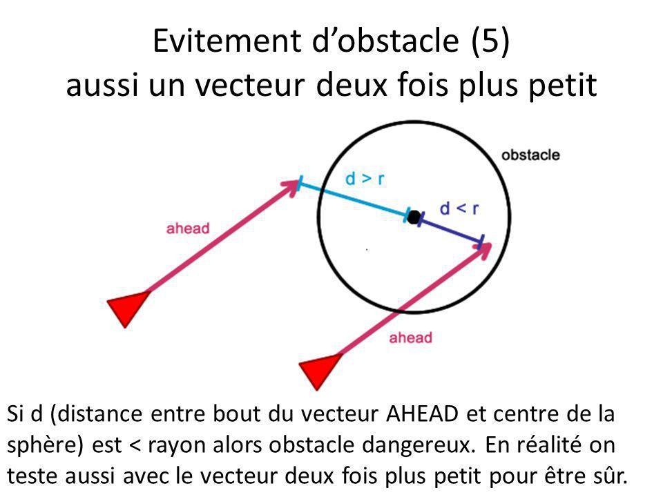 Evitement d'obstacle (5) aussi un vecteur deux fois plus petit