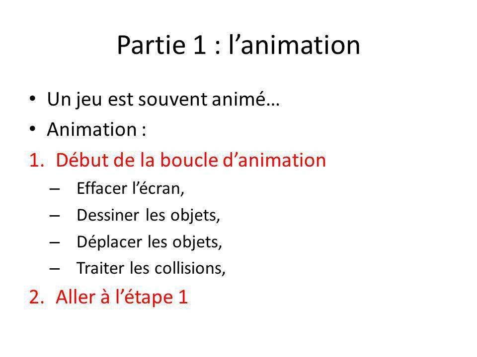 Partie 1 : l'animation Un jeu est souvent animé… Animation :