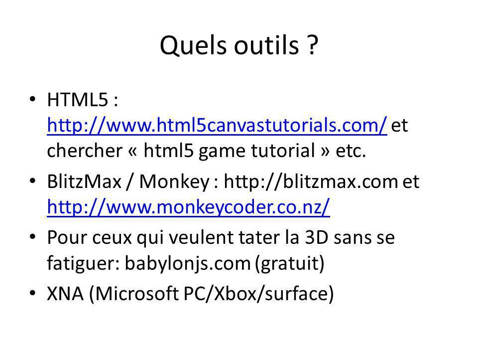 Quels outils HTML5 : http://www.html5canvastutorials.com/ et chercher « html5 game tutorial » etc.