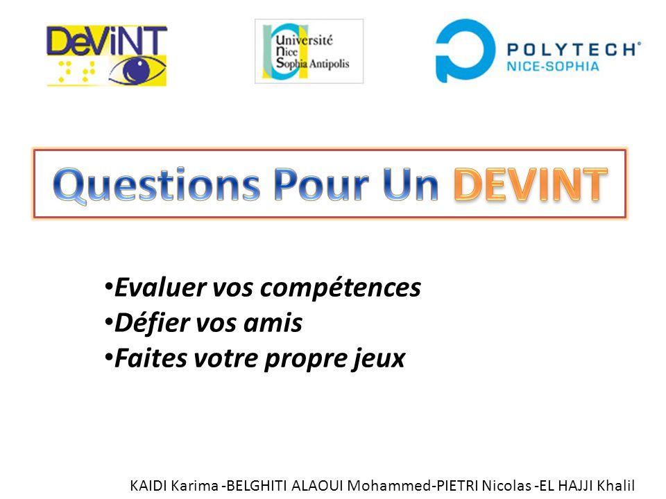 Questions Pour Un DEVINT