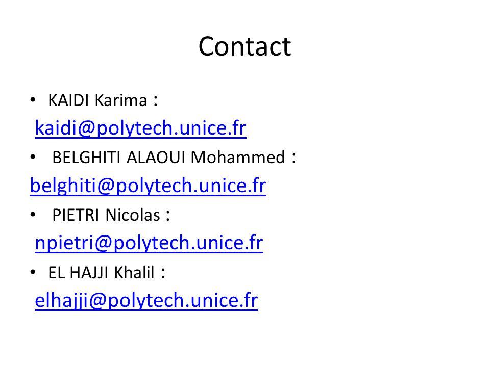 Contact kaidi@polytech.unice.fr belghiti@polytech.unice.fr