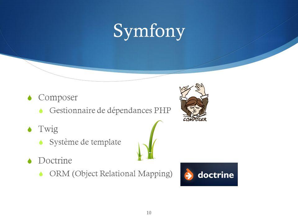 Symfony Composer Twig Doctrine Gestionnaire de dépendances PHP