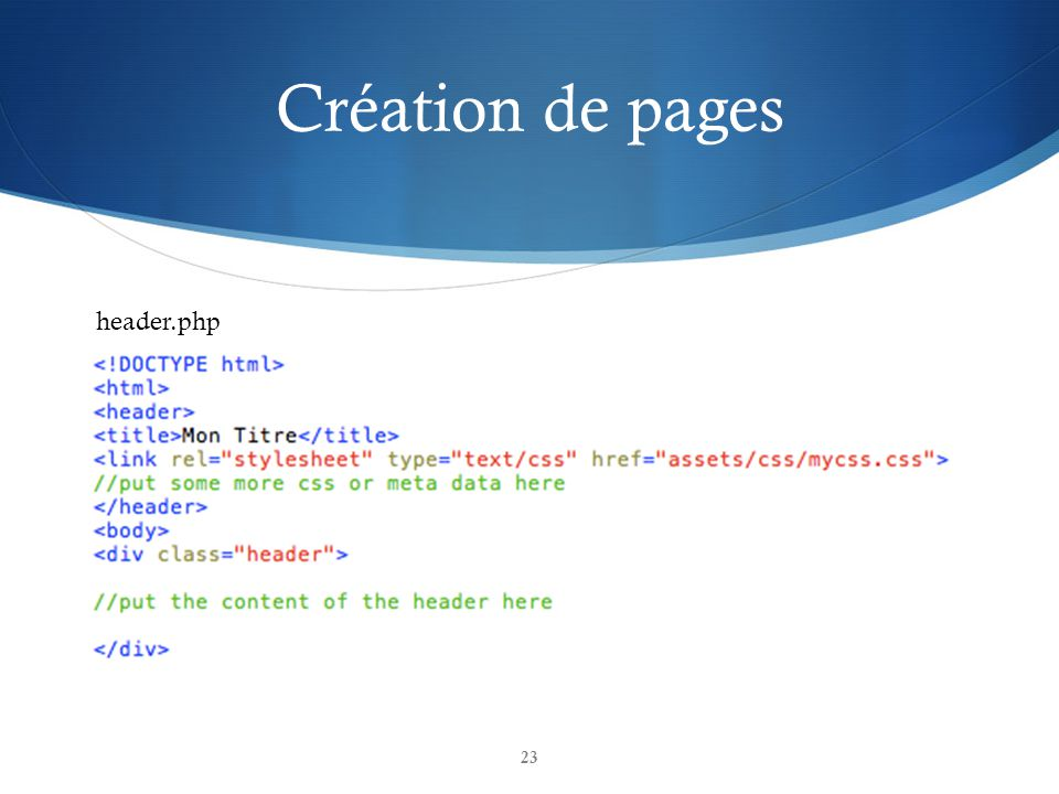 Création de pages header.php