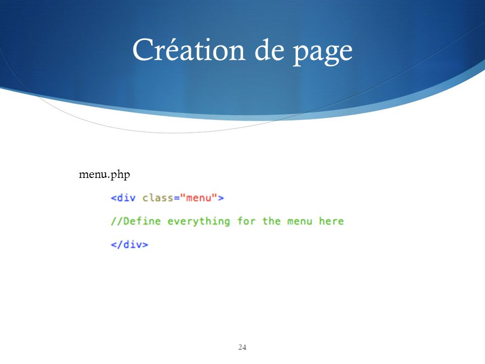 Création de page menu.php