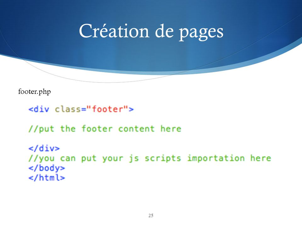 Création de pages footer.php
