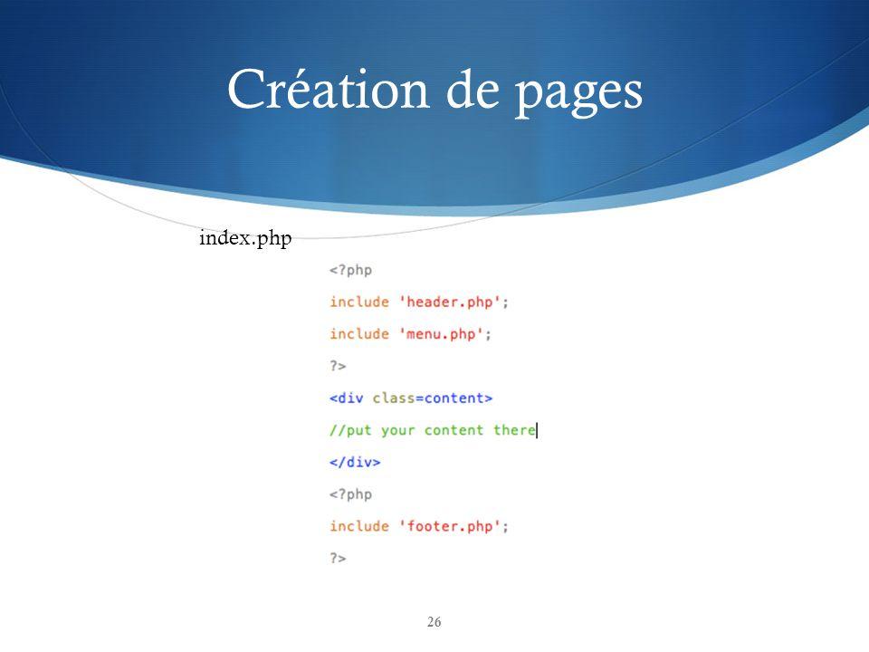 Création de pages index.php