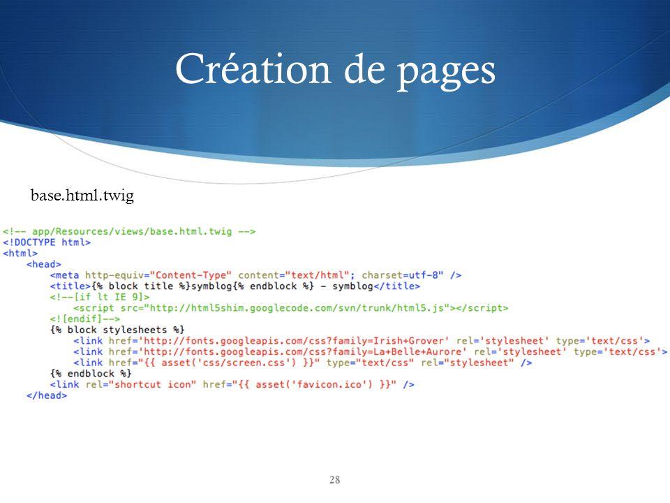 Création de pages base.html.twig