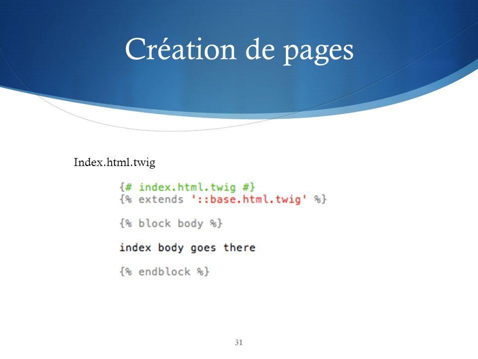 Création de pages Index.html.twig