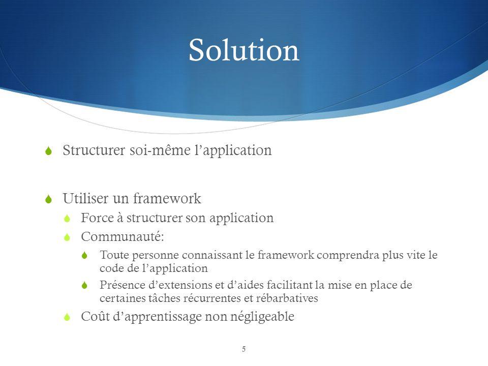 Solution Structurer soi-même l'application Utiliser un framework