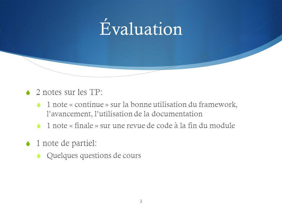 Évaluation 2 notes sur les TP: 1 note de partiel: