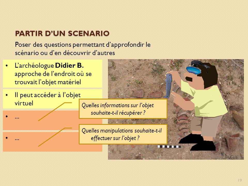 Partir d'un scenario Poser des questions permettant d'approfondir le scénario ou d'en découvrir d'autres.