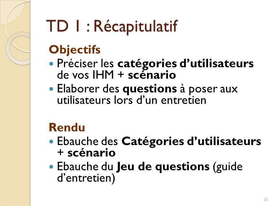 TD 1 : Récapitulatif Objectifs