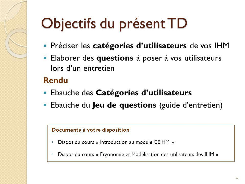 Objectifs du présent TD