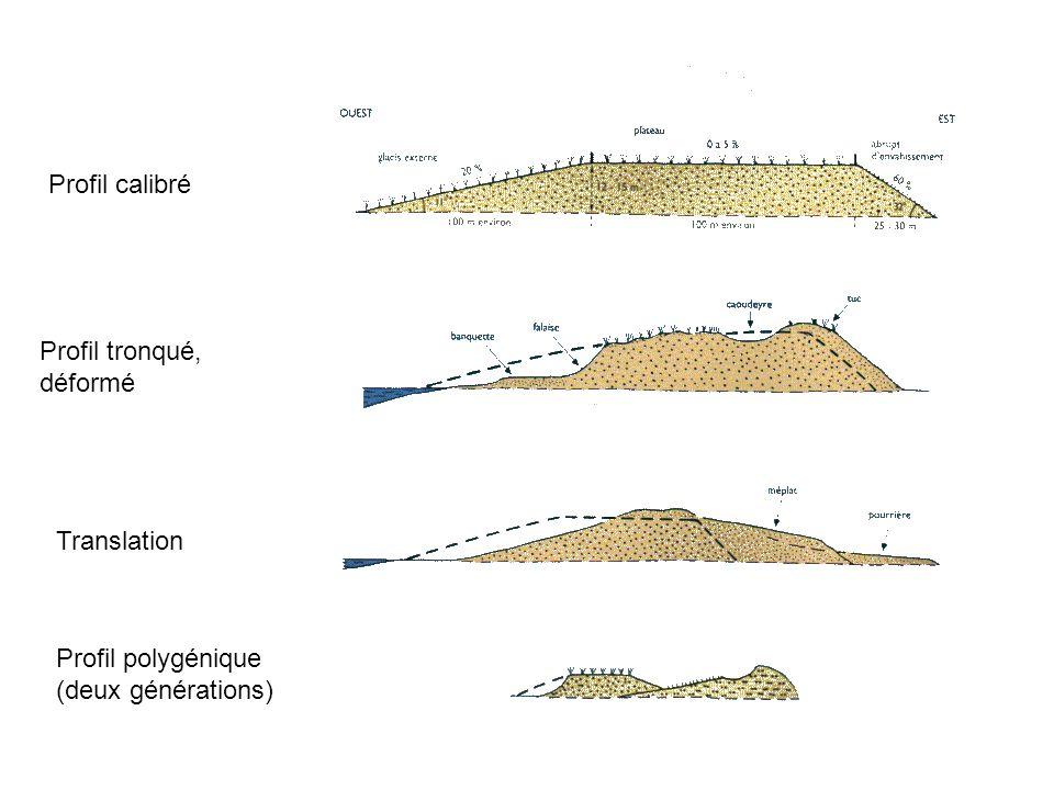 Profil calibré Profil tronqué, déformé Translation Profil polygénique (deux générations)