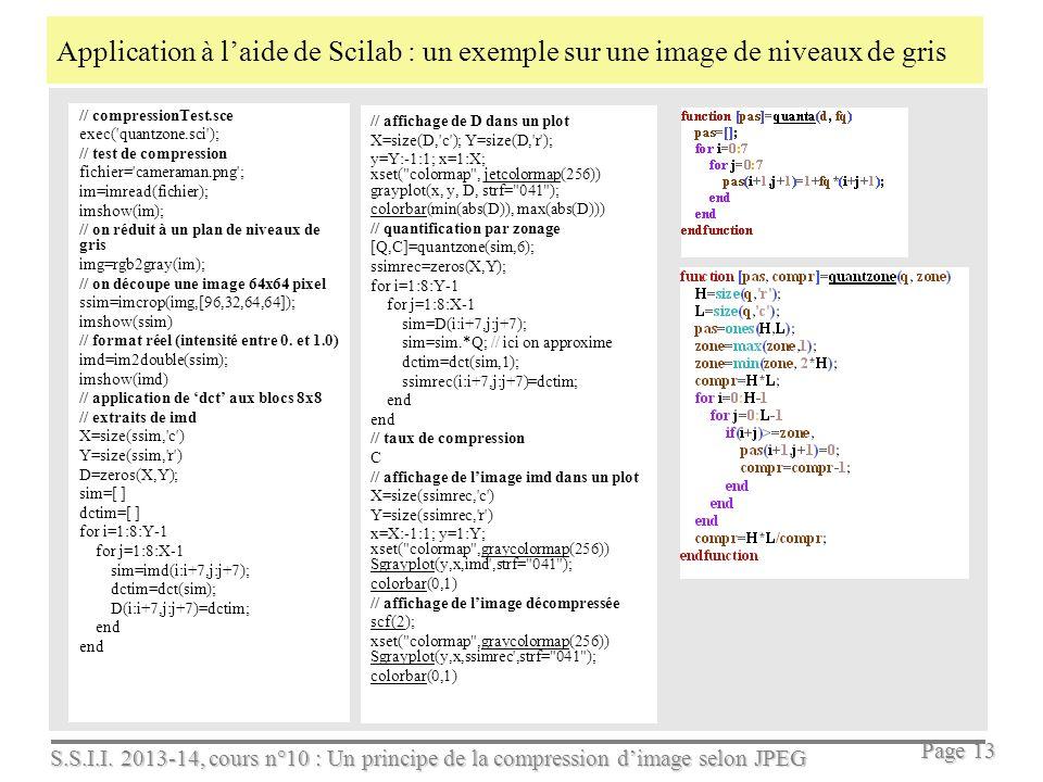 Application à l'aide de Scilab : un exemple sur une image de niveaux de gris