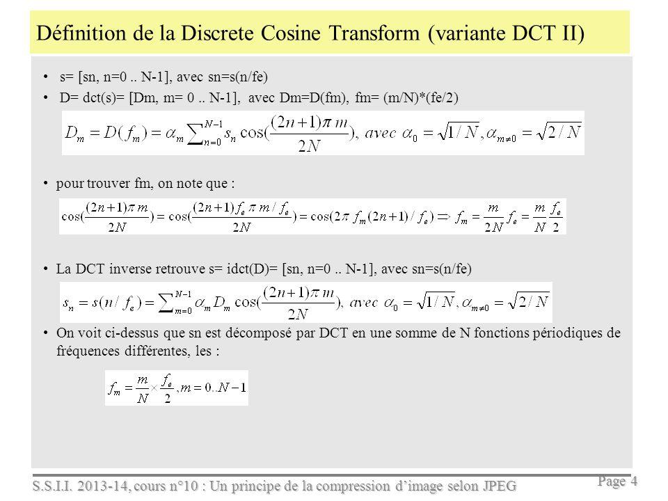 Définition de la Discrete Cosine Transform (variante DCT II)