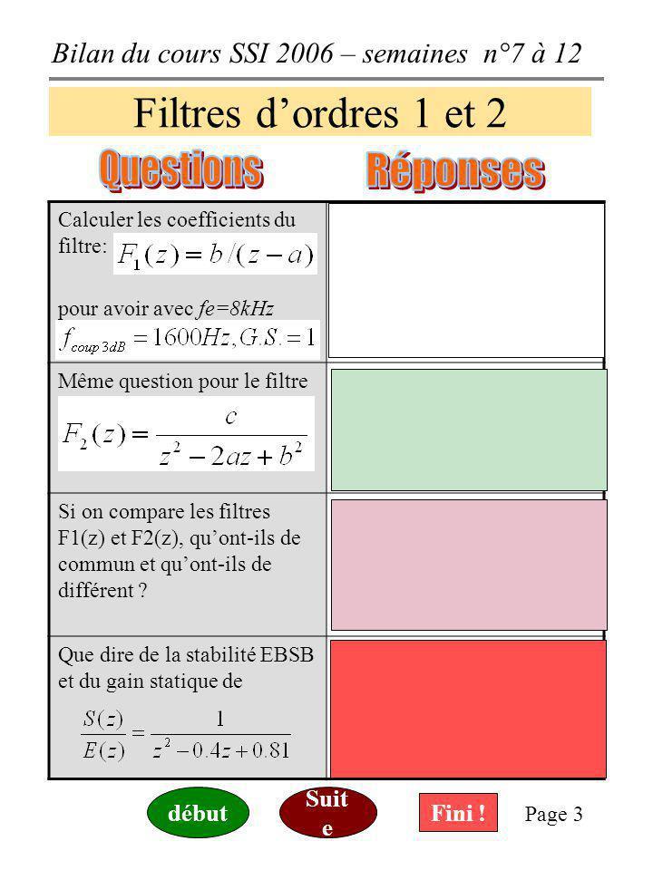 Filtres d'ordres 1 et 2 Questions Réponses Suite début Fini !